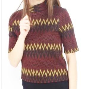 ZARA Crop Top Zig Zag Pattern Fall Colors Sz Small